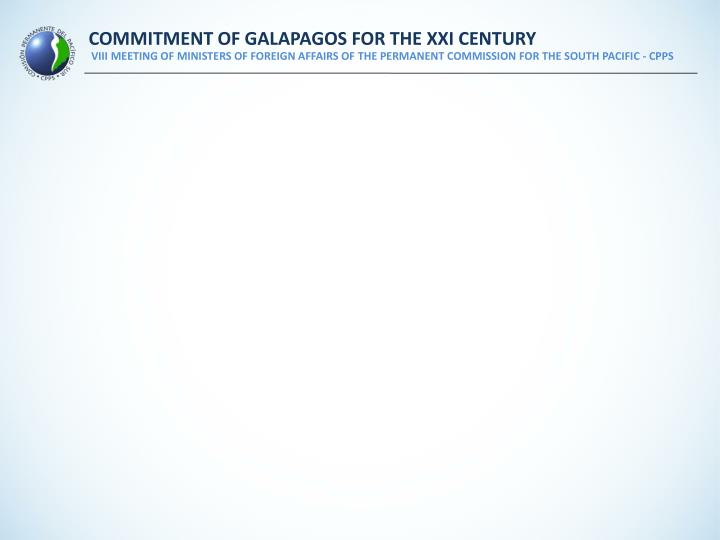 COMMITMENT OF GALAPAGOS FOR THE XXI