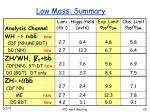 low mass summary