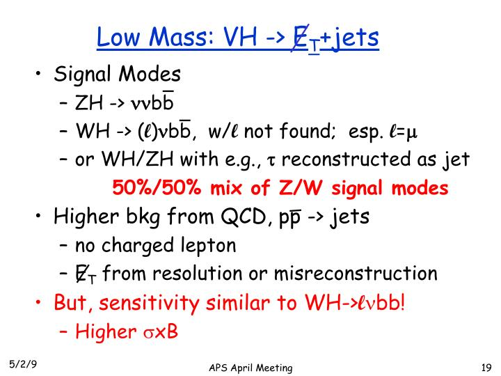 Low Mass: VH -> E