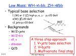 low mass wh l n bb zh ll bb