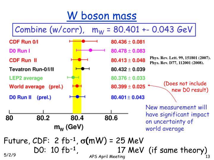 W boson mass