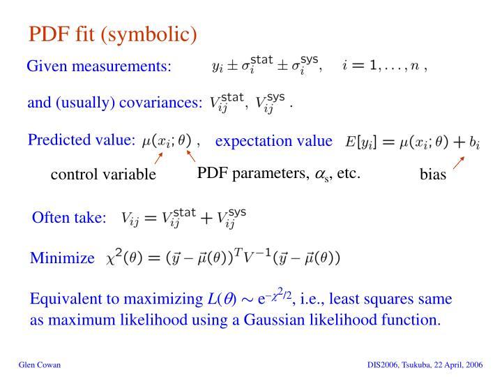 PDF fit (symbolic)