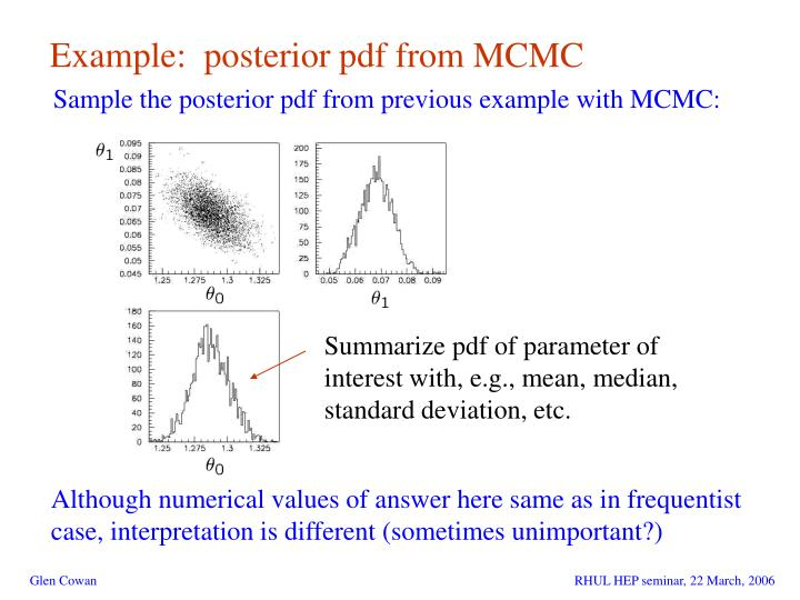 Example:  posterior pdf from MCMC