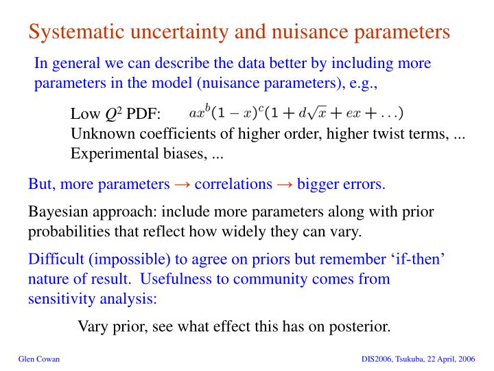 Systematic uncertainty and nuisance parameters