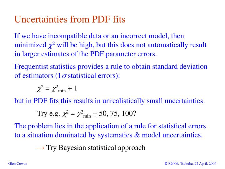 Uncertainties from PDF fits