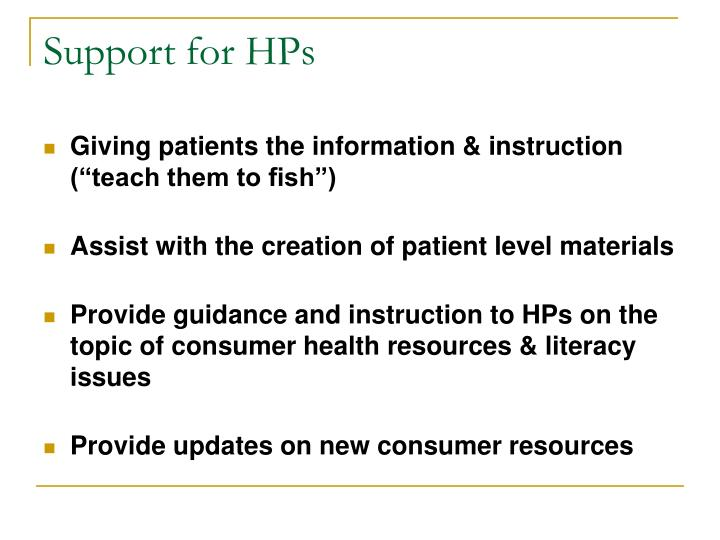 Support for HPs