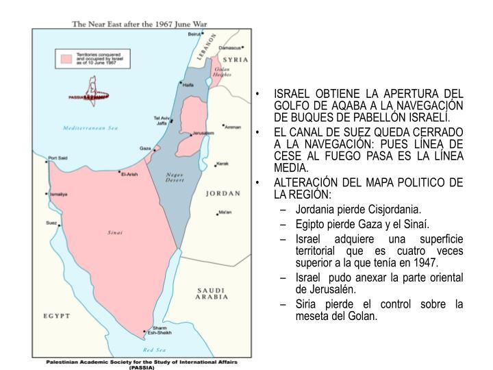 ISRAEL OBTIENE LA APERTURA DEL GOLFO DE AQABA A LA NAVEGACIÓN DE BUQUES DE PABELLÓN ISRAELÍ.