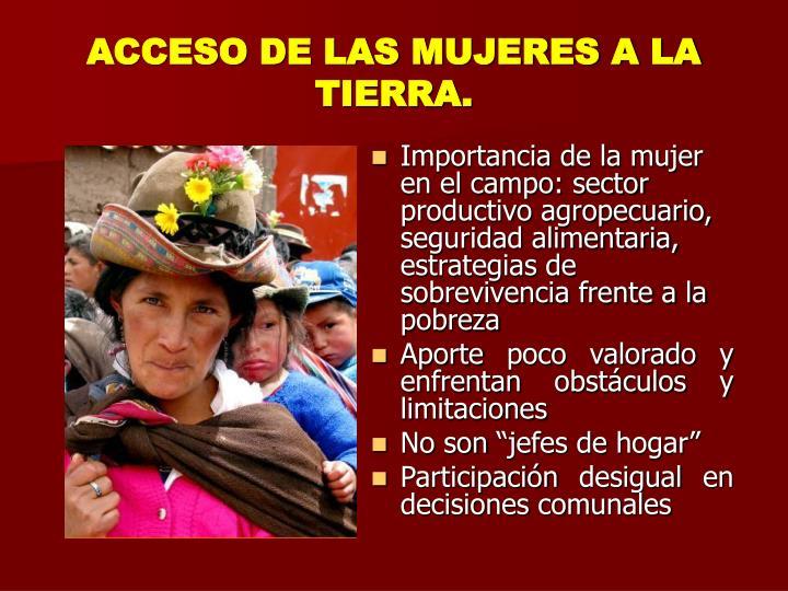 ACCESO DE LAS MUJERES A LA TIERRA.