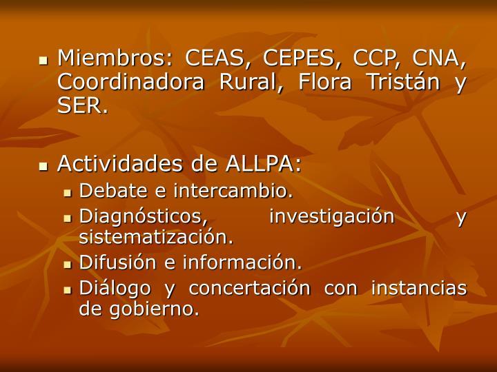 Miembros: CEAS, CEPES, CCP, CNA, Coordinadora Rural, Flora Tristán y SER.