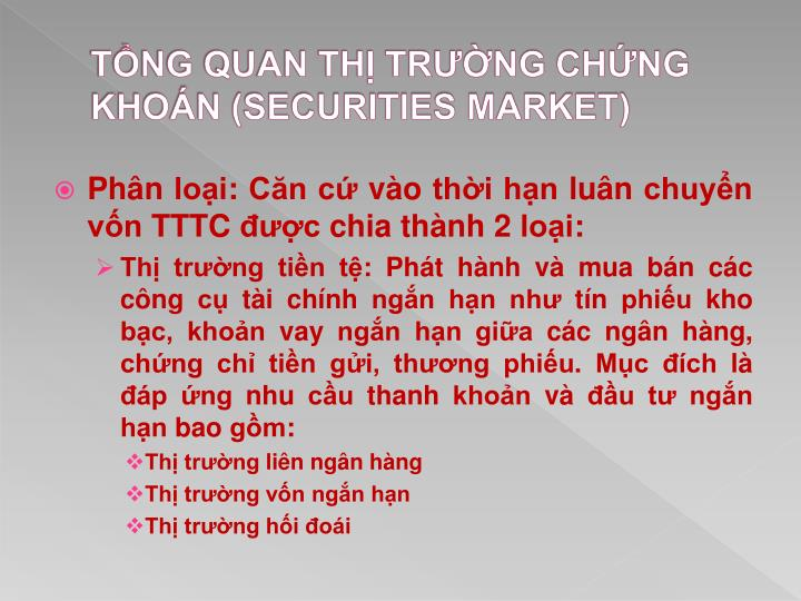 T ng quan th tr ng ch ng kho n securities market