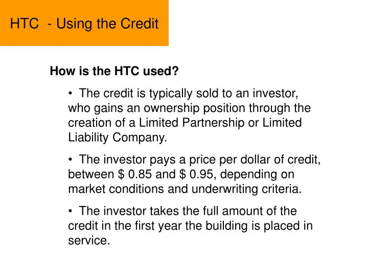 HTC  - Using the Credit