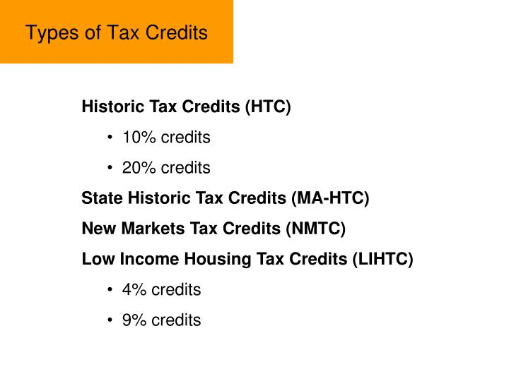 Types of Tax Credits