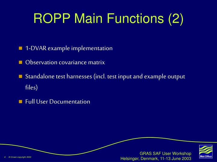 ROPP Main Functions (2)