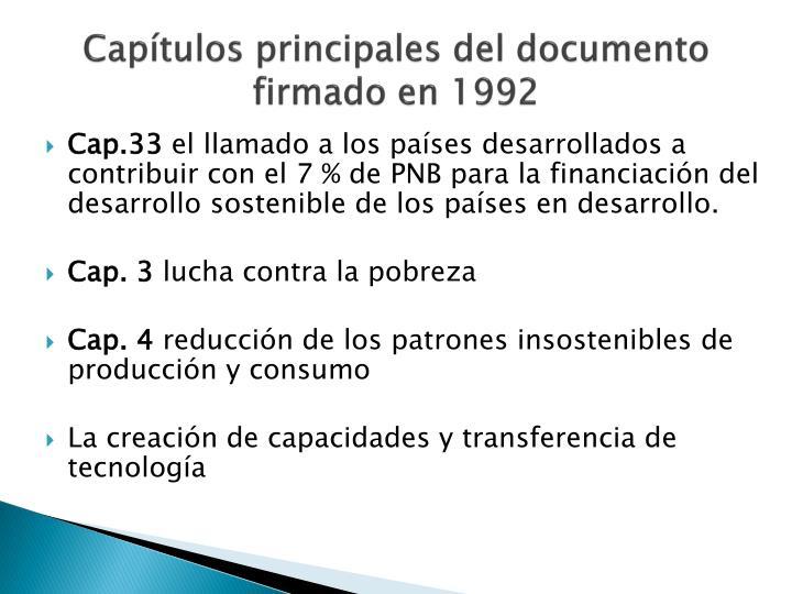 Capítulos principales del documento firmado en 1992