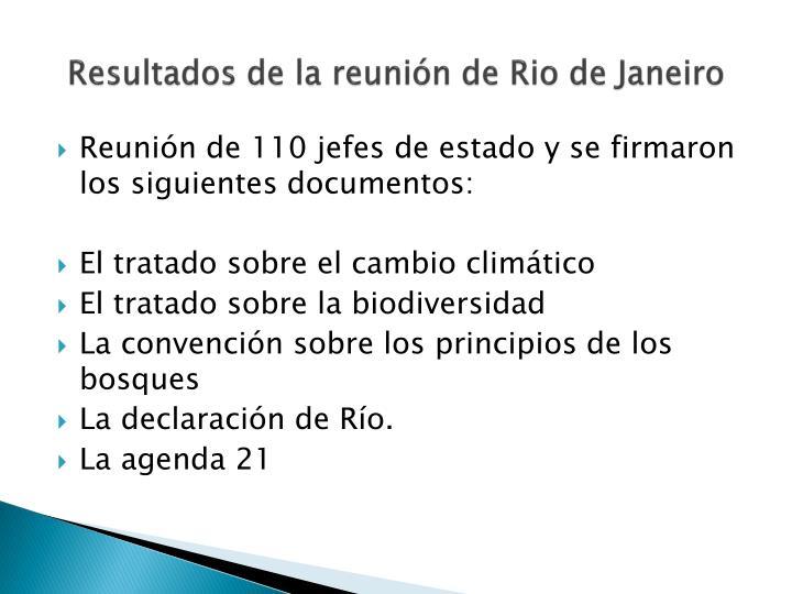 Resultados de la reunión de Rio de Janeiro