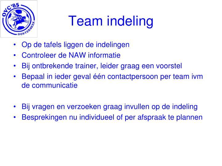 Team indeling