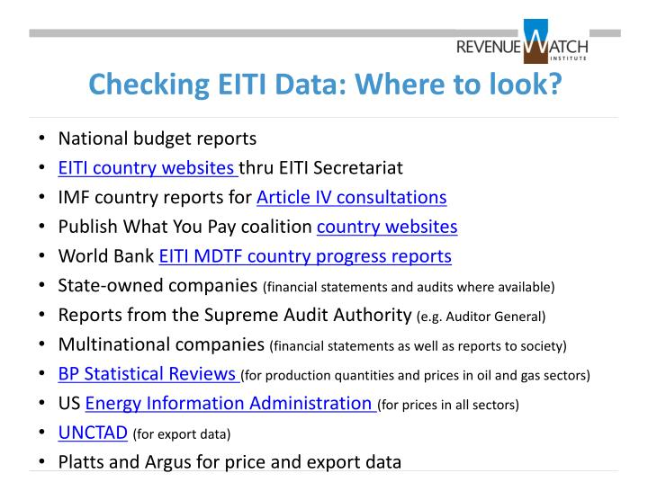 Checking EITI Data: Where to look?