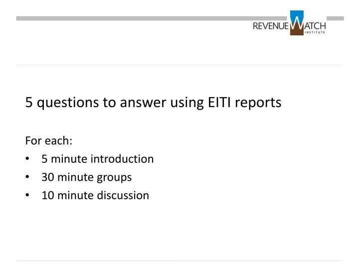 5 questions to answer using EITI reports