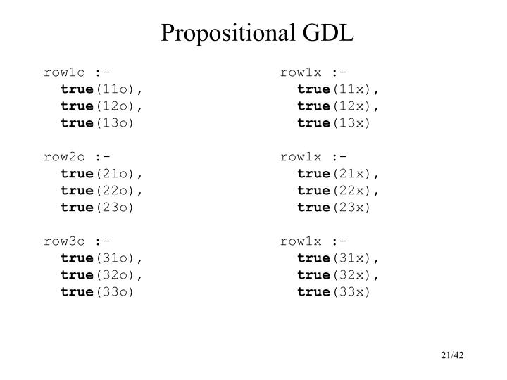 Propositional GDL