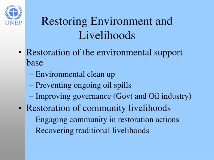 Restoring Environment and Livelihoods