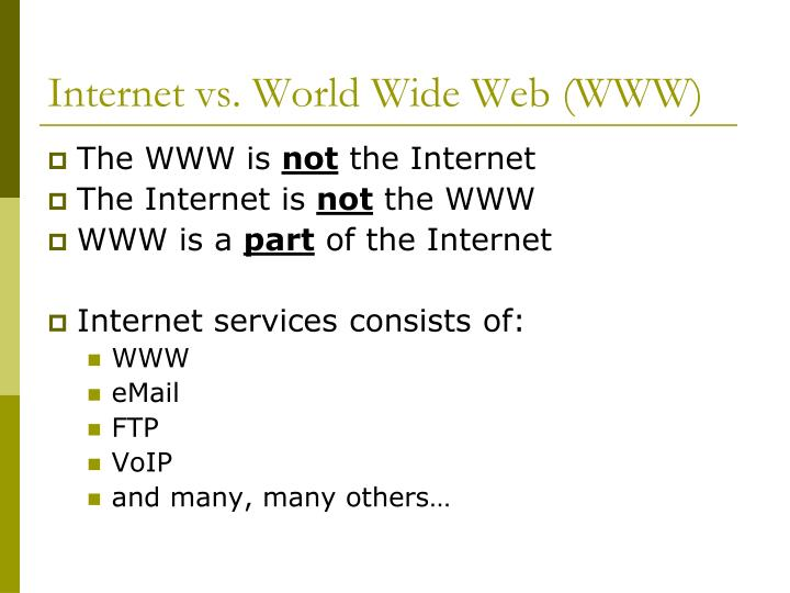 Internet vs. World Wide Web (WWW)