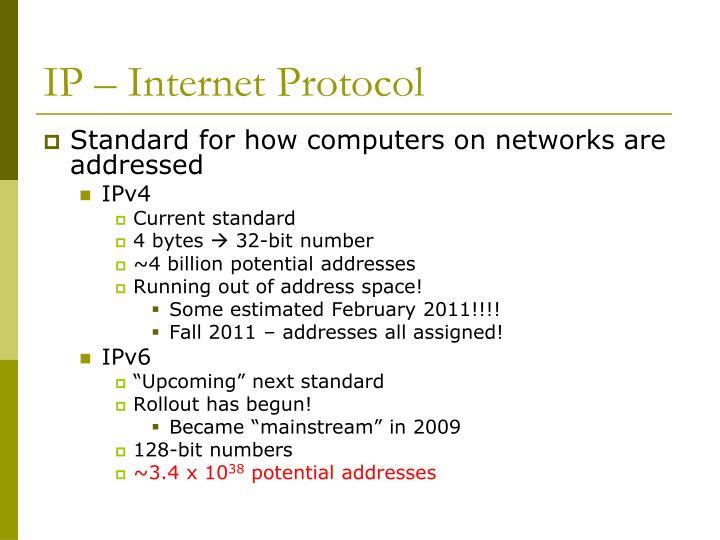 IP – Internet Protocol