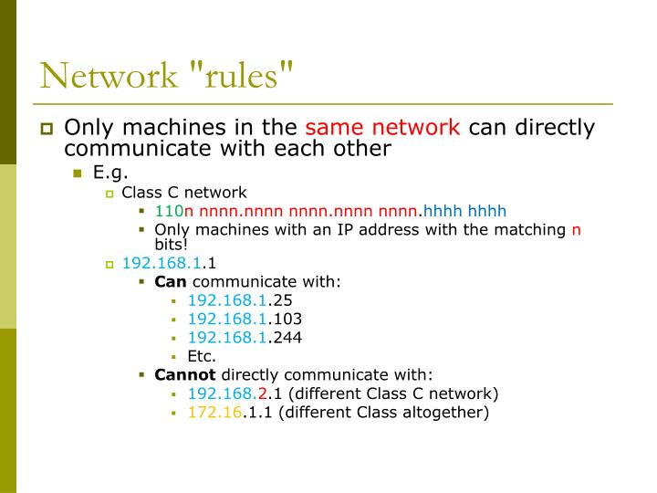 "Network ""rules"""