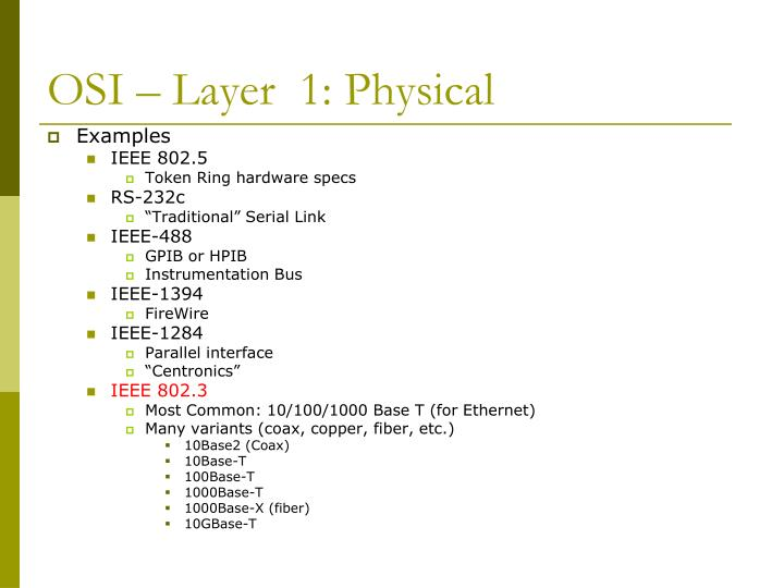 OSI – Layer  1: Physical