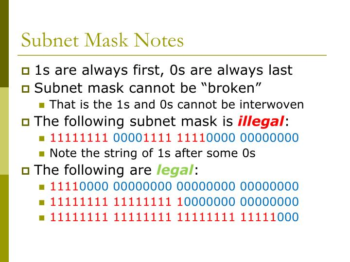 Subnet Mask Notes