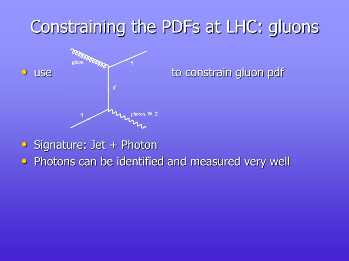 Constraining the PDFs at LHC: gluons