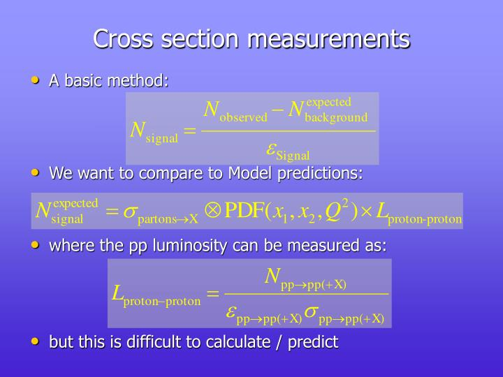 Cross section measurements