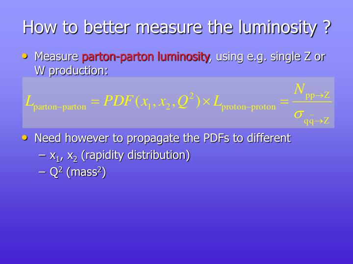 How to better measure the luminosity ?