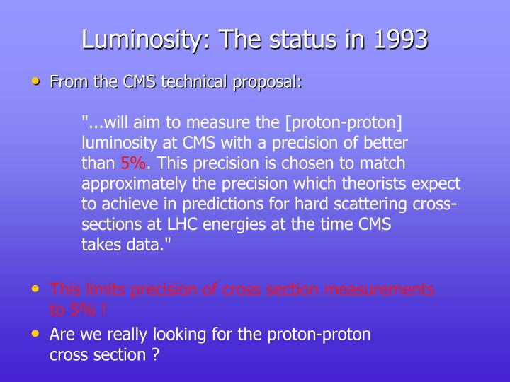 Luminosity: The status in 1993