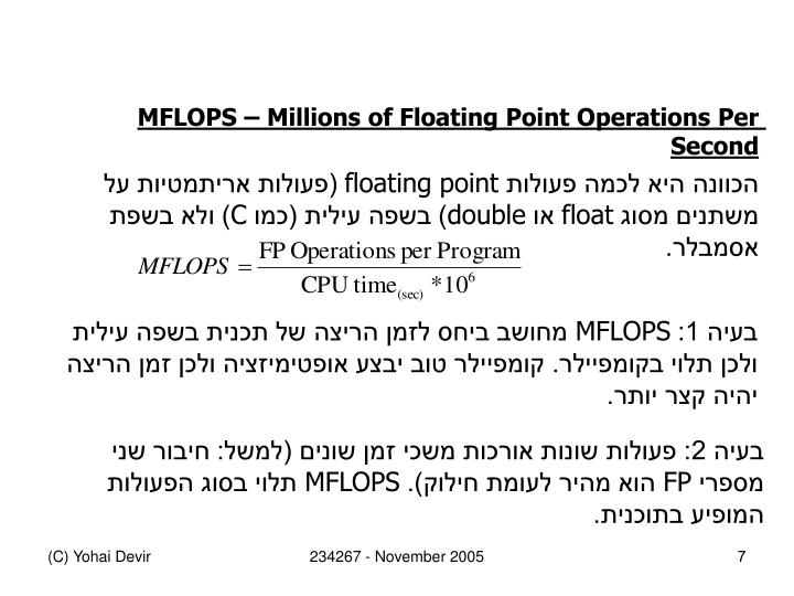 MFLOPS  Millions of Floating Point Operations Per Second
