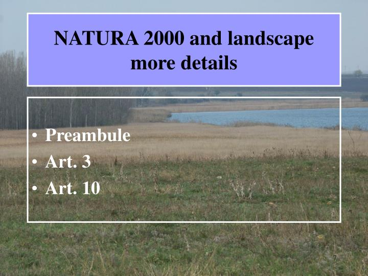 NATURA 2000 and landscape  more details