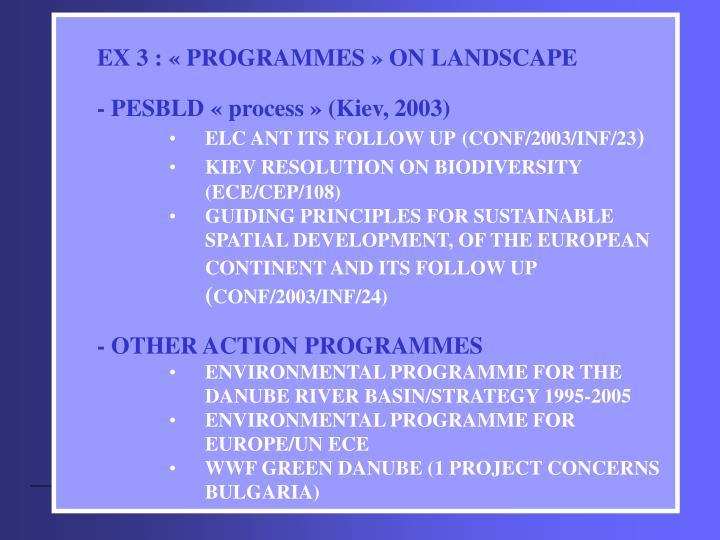 EX 3 : «PROGRAMMES» ON LANDSCAPE