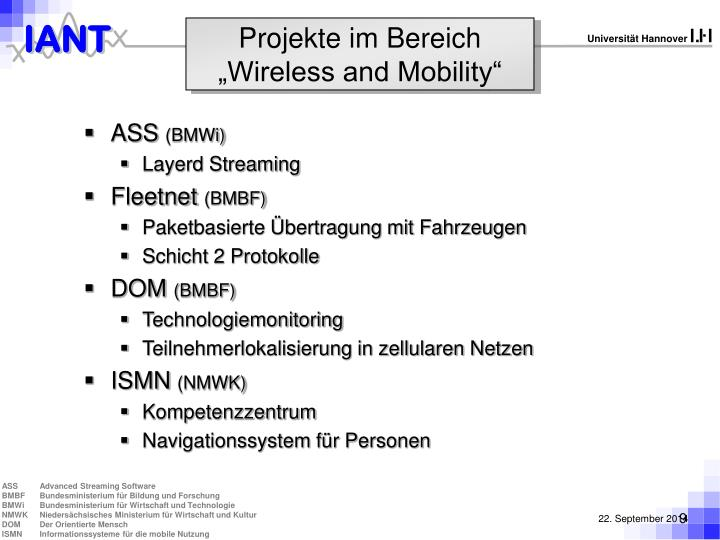 "Projekte im Bereich ""Wireless and Mobility"""