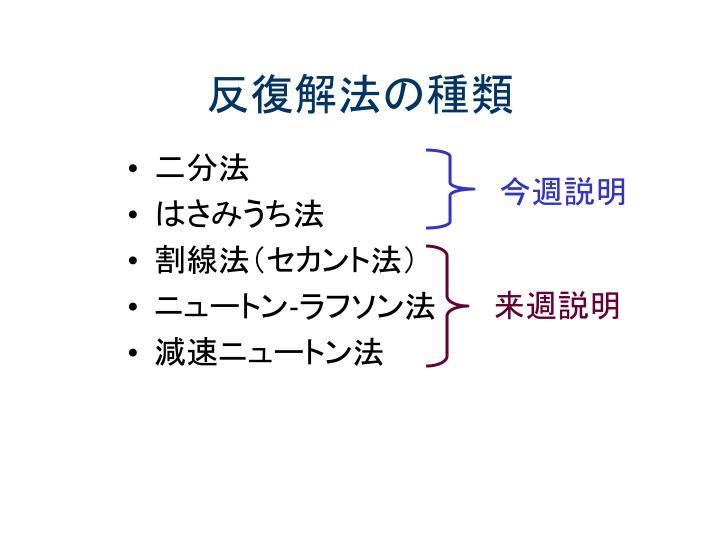反復解法の種類