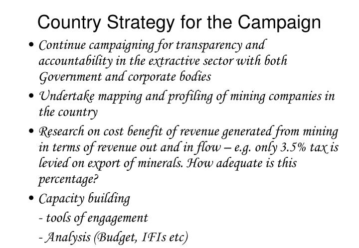 Country Strategy for the Campaign