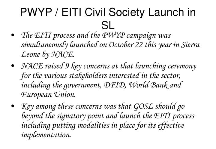 PWYP / EITI Civil Society Launch in SL