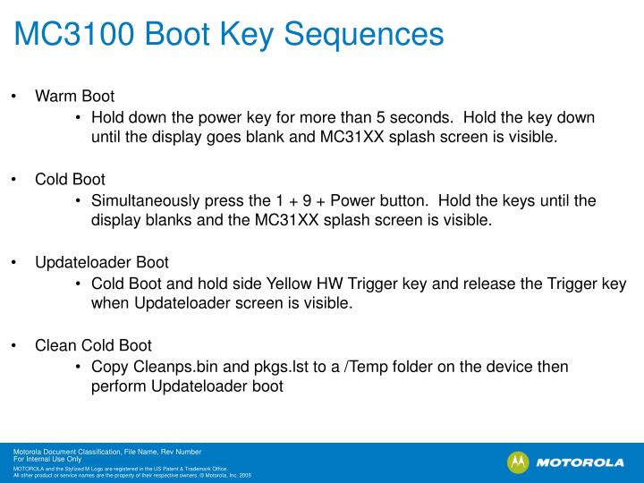 MC3100 Boot Key Sequences