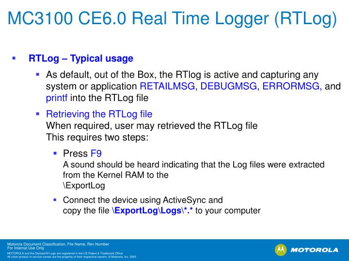 MC3100 CE6.0 Real Time Logger (RTLog)