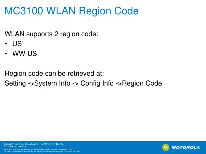 MC3100 WLAN Region Code