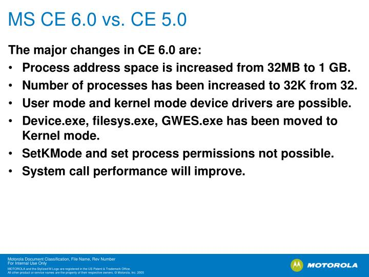 MS CE 6.0 vs. CE 5.0