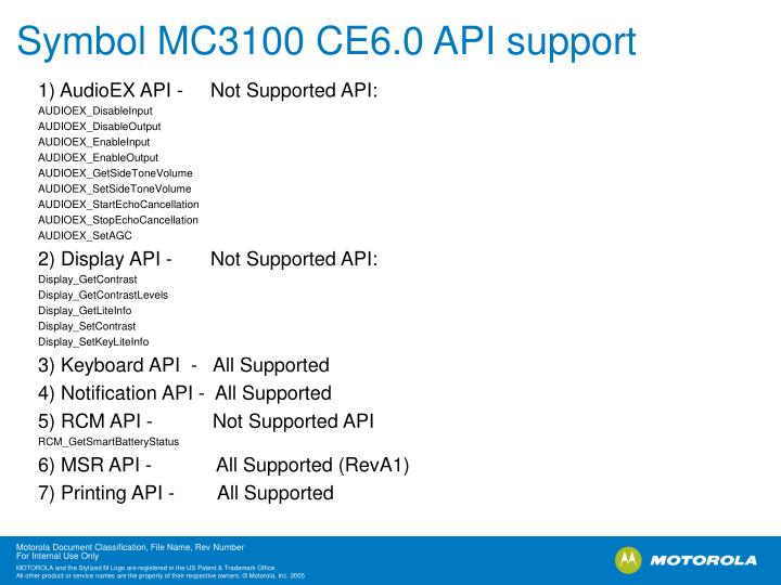 Symbol MC3100 CE6.0 API support