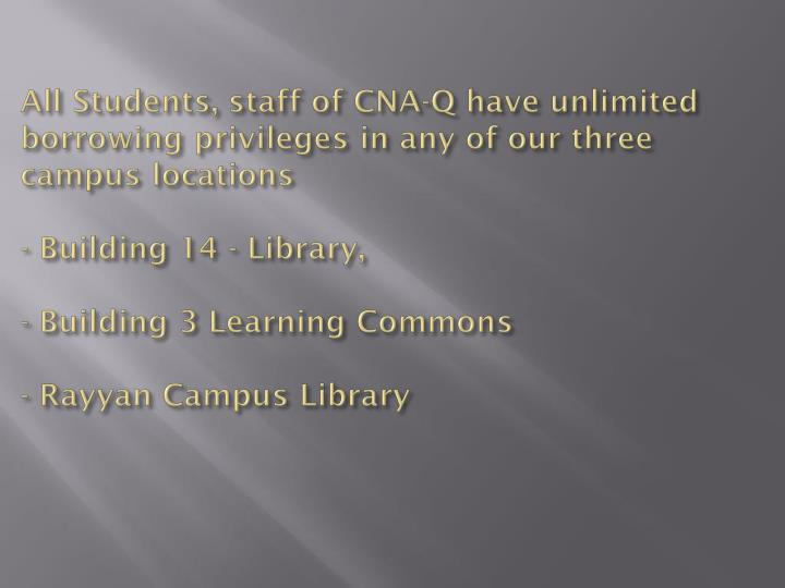 All Students, staff of CNA-Q have unlimited borrowing privileges in any of our three campus locations
