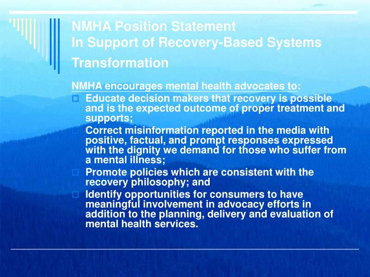 NMHA Position Statement