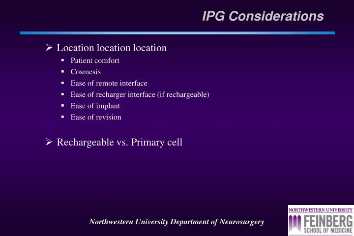 IPG Considerations