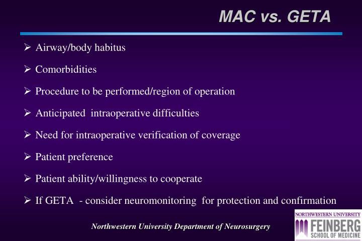 MAC vs. GETA