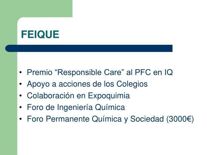 "Premio ""Responsible Care"" al PFC en IQ"